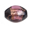 Glass Lamp Bead 15x13mm Oval Black/Amethyst Gold Silver Foiled